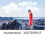 beautiful indian woman standing ... | Shutterstock . vector #1027355917