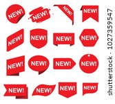 red new stickers set | Shutterstock .eps vector #1027359547