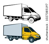 truck hand drawn black and... | Shutterstock .eps vector #1027385197