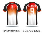 soccer jersey template.red and... | Shutterstock .eps vector #1027391221