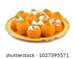 indian sweet motichoor laddoo... | Shutterstock . vector #1027395571