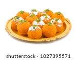 indian sweet motichoor laddoo...   Shutterstock . vector #1027395571