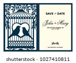 laser cut template. birdcage... | Shutterstock .eps vector #1027410811