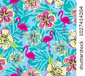 seamless pattern with flamingo... | Shutterstock .eps vector #1027414204