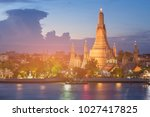 twilight over arun temple river ... | Shutterstock . vector #1027417825