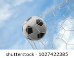 soccer ball on goal with net... | Shutterstock . vector #1027422385