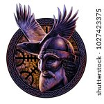 norse god odin with crow....   Shutterstock . vector #1027423375