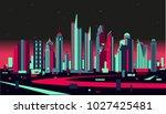 bangkok stylized skyline | Shutterstock .eps vector #1027425481
