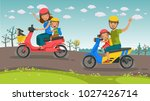 motorcycle travel asians family.... | Shutterstock .eps vector #1027426714