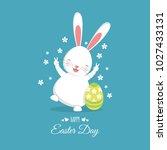 easter bunny with easter egg.... | Shutterstock .eps vector #1027433131