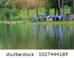let us go camping. image of... | Shutterstock . vector #1027444189