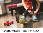 beautiful women are exercising... | Shutterstock . vector #1027446655