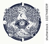 all seeing eye tattoo occult... | Shutterstock .eps vector #1027448539