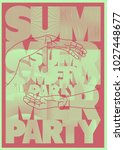 summer party typographic poster ... | Shutterstock .eps vector #1027448677