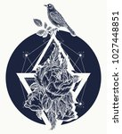 rose and birds  tattoo and t... | Shutterstock .eps vector #1027448851