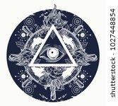 all seeing eye pyramid tattoo... | Shutterstock .eps vector #1027448854