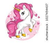 cute little pink  magical... | Shutterstock .eps vector #1027454437