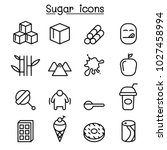 sugar icon set in thin line... | Shutterstock .eps vector #1027458994