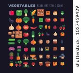 Vegetables pixel art icons set mushrooms and nuts isolated vector illustration. Design for stickers, logo, mobile app. Video game assets 80s 8-bit sprite sheet. | Shutterstock vector #1027459429