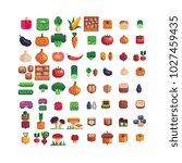 vegetables pixel art icons set... | Shutterstock .eps vector #1027459435