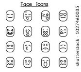 face icon set in thin line style | Shutterstock .eps vector #1027460035