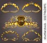 set of gold vip monograms for... | Shutterstock .eps vector #1027462891