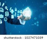 businessman press cloud | Shutterstock . vector #1027471039