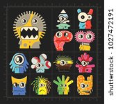cute colorful monsters on black.... | Shutterstock .eps vector #1027472191