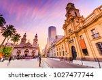plaza de armas in santiago de... | Shutterstock . vector #1027477744