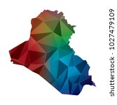 iraq map in geometric polygonal ... | Shutterstock .eps vector #1027479109