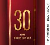 30 years gold anniversary... | Shutterstock .eps vector #1027486474