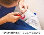 woman process hand made design... | Shutterstock . vector #1027488649