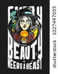 beauty with beast   poster ... | Shutterstock .eps vector #1027497055