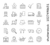 cargo shipping linear icons set.... | Shutterstock .eps vector #1027498651