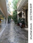 narrow lane in athens district...   Shutterstock . vector #1027504309