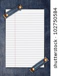Lined Note Paper On Blue Jeans...