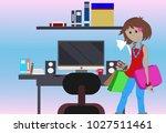 painting working women desk and ... | Shutterstock . vector #1027511461