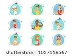 people in the bathroom doing... | Shutterstock .eps vector #1027516567