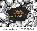 mexican food sketch label in... | Shutterstock .eps vector #1027520641