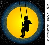 child having fun on a swing in... | Shutterstock .eps vector #1027521505