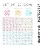 set of 100 universal minimal... | Shutterstock .eps vector #1027523929