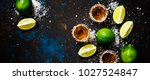 strong alcoholic drink with... | Shutterstock . vector #1027524847