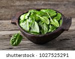 spinach leaves on a wooden... | Shutterstock . vector #1027525291
