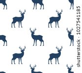 seamless pattern with deer on... | Shutterstock .eps vector #1027541185