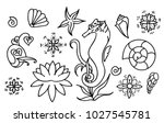 sea horse  shells and doodle... | Shutterstock .eps vector #1027545781
