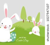 happy easter background with... | Shutterstock .eps vector #1027547107