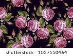 beautiful buds of pink roses... | Shutterstock .eps vector #1027550464