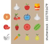icons fruits and vegetables... | Shutterstock .eps vector #1027551679