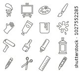 artist or painter icons thin... | Shutterstock .eps vector #1027552285