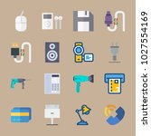 icons gadgets with cable ... | Shutterstock .eps vector #1027554169